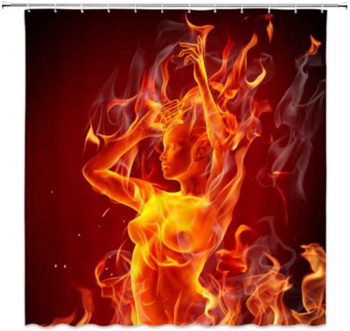 AMFD Fire Sexy Nude Girl Shower Curtain