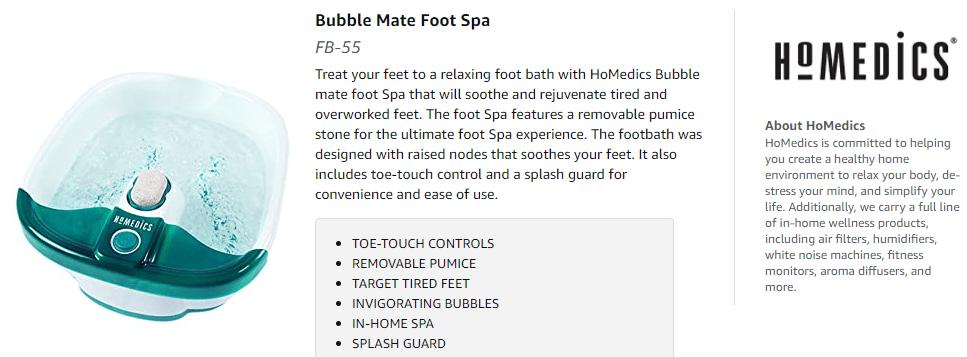 HoMedics Bubble Mate Foot Spa
